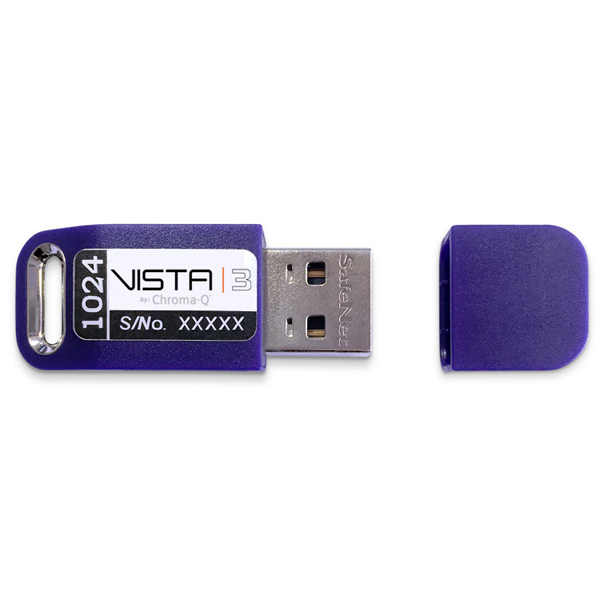 The Vista by Chroma-Q DMX Channel Licences enable data output from a computer running the Vista software and is suitable for standalone or tracking backup control.
