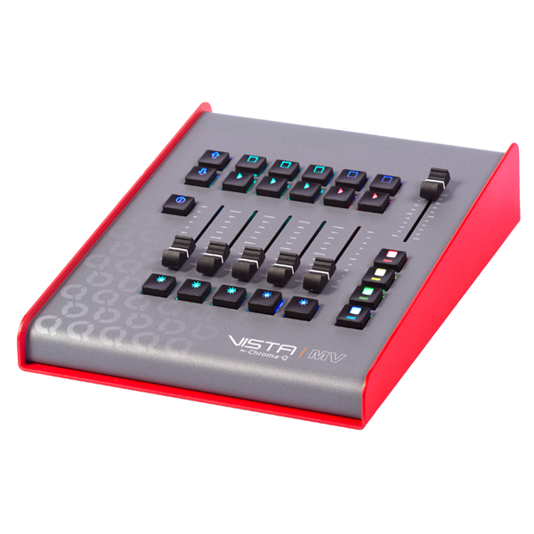 The cost-effective Vista by Chroma-Q MV can be used as a powerful, yet intuitive, standalone controller, when connected to a host PC or Mac running the Vista 3 software.