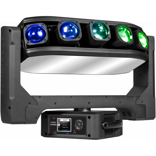 Air 5Fan is a pixel-FX moving head, able to control the spread of its pixels through the motorised lens system, passing from a sharp linear beam effect to a multi-ray effect
